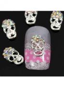 Sellingpillar 10pcs Silver Skull Alloy 3D AB Rhinestone Crystal Nail Art Tips Slice Decoration