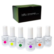 BMC 6pc Colour Gel Nail Art Polish UV LED Light Manicure Collection Set - NEONS, Stuck On You Like Gelly Collection