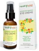 HealthyWiser - Advanced Firming Eye Cream, Natural and Organic Eye Cream for Wrinkles, Dark Circles and Puffiness, Natural and Organic Under Eye Treatment Contains Matrixyl 3000, Hyaluronic Acid, Peptides and Green Tea, Vegan, 97.5% Natural, 75% Organic
