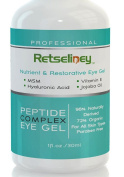 Retseliney Best Professional Vegan Organic Peptide Complex Eye Gel, Anti Ageing Eye Creams for Dark Circle, Puffiness, Eye Bags, Crow's Feet, Puffy Eyes, Fine Lines and Wrinkles, Under Eye Repair Gel Treatment with Hyaluronic Acid, Cucumber, Vitamin E, ..