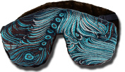 Candi Andi - Adjustable Travel Sleep Eye Mask Pillow - Weighted Flax Seed Filled - Satin Brocade & Crushed Velvet - Unscented - Dark Chocolate Turquoise - TEMF-DT