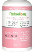 Retseliney Best Professional Vegan Organic Retinol Moisturiser Cream with 2.5% Retinol, Reduces Appearance of Wrinkles, Fine Lines and Dark Spots, Anti Ageing Facial Moisturiser, Retinol Cream with Vitamin E, Shea Butter, Green Tea and Jojoba Oil, Day  ..