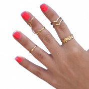 Mokingtop®Bling Women Gold Heart Joint Knuckle Nail Ring Set of Six Rings
