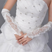Black Flowers Bridal Gloves Fingerless Satin Lace Pearl Wedding Party Prom