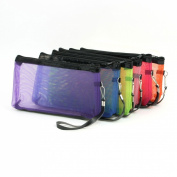 6 Pieces Multi Colour Mesh Design Zipper Make Up Bag for Ladies