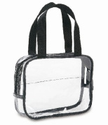 Clear Cosmetic Bag with Handles - Black