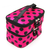 Cosmetic Bag Double Layer Dot Pattern Travel Toiletry Bag Organiser With Mirror