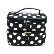 JOVANA Double Layer Cosmetic Bag Black with White Dot Travel Toiletry Cosmetic Makeup Bag Organiser With Mirror