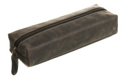 Visconti 731 Hunter Distressed Brown Leather Pencil Case/ Small Travel Makeup Cosmetic Bag /Toiletry Case / Supply Holder