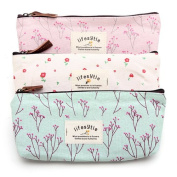 Countryside Flower Floral Pencil Pen Case Cosmetic Makeup Bag  Set of 3