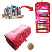 Rimobul Luxury Roll N Go Cosmetic Bag Roll Up Bathroom Organiser Red & Hot Pink