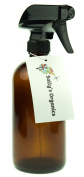 Empty Amber Glass Spray Bottle - Large 470ml Refillable Container is Great for Essential Oils, Cleaning Products, Homemade Cleaners, Aromatherapy, Organic Beauty Treatments or Cooking in the Kitchen - Durable Black Trigger Sprayer w/ Mist and Stream No ..
