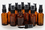12 New, High Quality, 30ml Amber Glass Bottles, with Black Fine Mist Sprayer