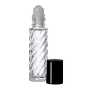 24 Swirl 1/3 oz. Roll-on Refillable Glass Perfume Bottles with 3 FREE 5ml. Droppers For Easy Filling.