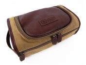 NWT $50 PENGUIN Munsingwear Men's Toiletry Travel Shave Kit Case Bag Brown Khaki