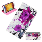 Suppion® Flower Wallet Stand Flip Leather Case Cover for for Samsung Galaxy Note 3 III N9000