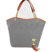 niceeshop Fashion Stripe Single Shoulder Canvas Bag Women Handbag