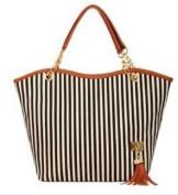 Hotportgift Fashion Stripe Design Women Street Snap Candid Tote Single Shoulder Canvas Bag Handbag