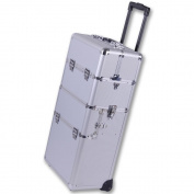 100cm 2in1 Rolling Makeup Artist Cosmetic Train Case Aluminium Hair Style Box Lock