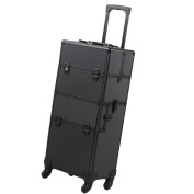 2in1 Pro 4 Wheel Rolling Makeup Cosmetic Train Case Aluminium Lockable Box