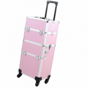 "14x 9"" x 70cm 2In1 Pink 4 Wheel Rolling Aluminium Makeup Artist Lockable Cosmetic Train Case"