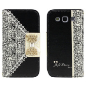 Towallmark(TM)Black Cute Flip Wallet Leather Case Cover for for  for  for Samsung   Galaxy S3 i9300