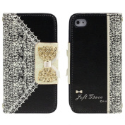 Towallmark(TM)Black Fresh Cute Flip Wallet Leather Case Cover for iPhone 4 4S