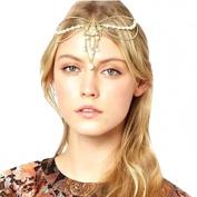 Sannysis HMetal Chain Jewellery Headband Head Hair Band Tassels Pearl