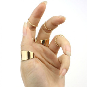 Doinshop (TM) Cute Fashion 6 PCS Punk Gold Stack Plain Band Midi Mid Finger Knuckle Ring Set