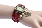 Aokdis Women's Weave Around Leather Bracelet Wrist Quartz Watch