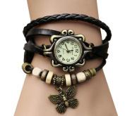 Aokdis (TM) Women's Weave Around Leather Bracelet Wrist Quartz Watch