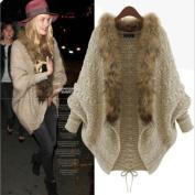 Leshery Womens Autumn Winter Warm Coat Fur Collar Bat Sleeve Cardigan Sweater Jackets