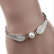 Lowpricenice(TM) Silver Infinity Retro Pearl Angel Wings Jewellery Dove Peace Bracelet