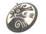 Laser Cut Ancient Culture's Symbols Hand-carved in Tagua Nut with Small Sterling Silver Bail - ONE UNIT PACK