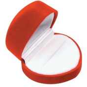 Red Heart Shaped Velvet Ring Jewellery Gift Box