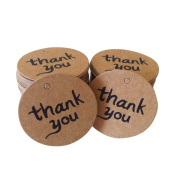 "Wowlife 50 Pcs Brown ""Thanks You"" Round Card Paper Tag Kraft Paper Tag Bonbonniere Favour Gift Tags Twines Product Price Label With Jute/Strings - Great as Wedding Favour Tags - Gift Tags or Other Place Name Cards"