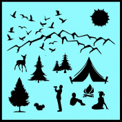 Auto Vynamics - STENCIL-CAMPSCENE01-X - Detailed Family Camping Scene Stencil Kit - Use the Whole Scene or Individual Pieces! - 50cm by 50cm Sheet - (1) Piece Kit