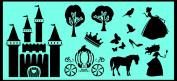 Auto Vynamics - STENCIL-PRINCESSKIT01-X - Detailed LARGE Princess / Fairy Tale Stencil Kit - Includes Castle, Carriage, Princesses, & More! - 120cm by 60cm Sheet - (1) Piece Kit