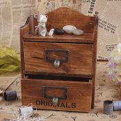 2 Layers Retro Old Style Trinket Box Unique Handcraft Wooden Boxes Multipurpose Storage Cabinet With 2 Drawers Perfect Treasure Chest Boxes for Weddings, Crafts
