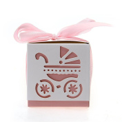 Gleader 12pcs Wedding Favour Gift Ribbon Candy Box Cut Out Pram Design Baby Shower Party