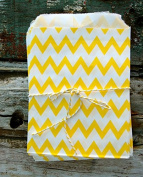Yellow Chevron Paper Treat Bags -