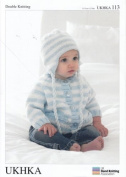Double Knitting DK Pattern - Baby Long Sleeved Striped Cardigan Scarf & Tassel Hat