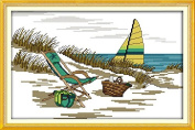 Benway Stamped Cross Stitch Kit The Seaside Scenery 11 Count 48x33cm