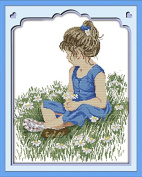 Benway Stamped Cross Stitch Kit A Little Girl On The Grass 14 Count 40x47cm