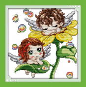 Benway Stamped Cross Stitch Kit Sunflower Angels Babies 11 Count 32x32cm