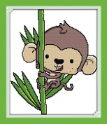 Benway Stamped Cross Stitch Kit The Monkey Climbing The Bamboo 11 Count 39x45cm