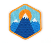 Patch - Three Mountain Embroidered Sew or Iron-on Backing Patch