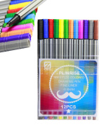 Pinkrise NBFY-FL01 Sketch Drawing Pen,Fineliner Pen,Fine Point Marker Pen,Colour Gel Ink Pen,0.4MM,Pack of 12 Assorted Colours