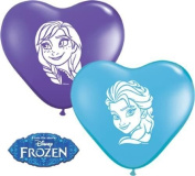 Disney Frozen Anna & Elsa Faces 15cm Heart Shaped Qualatex Latex Balloons x 20