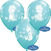 Disney Frozen Anna, Elsa & Olaf Caribbean Blue 28cm Qualatex Latex Balloons x 6